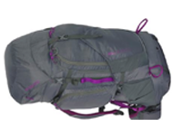 Photo of grey and purple hiking bag