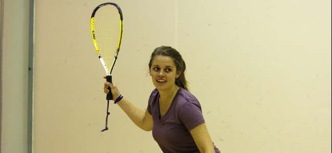 woman playing racquetball