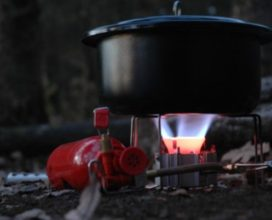 Photo of hiking burner with pot cooking