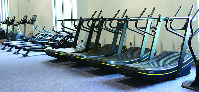 treadmills in fitness facility