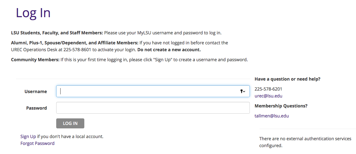 Screen-cap showing what the login page looks   like.