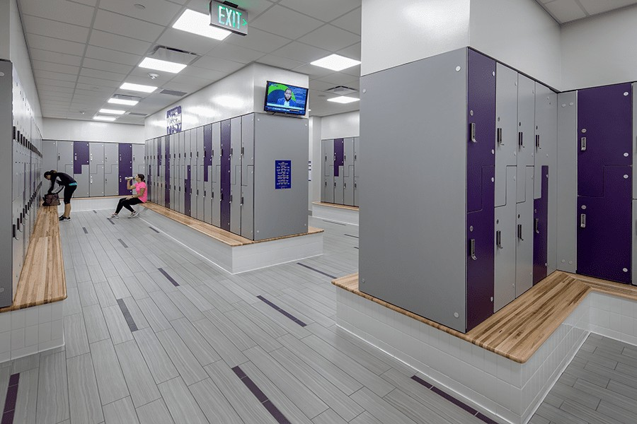 The inside of one of our main facility's locker rooms.