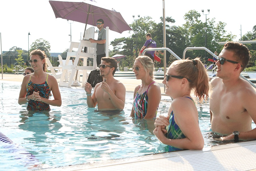 group of students learning in pool