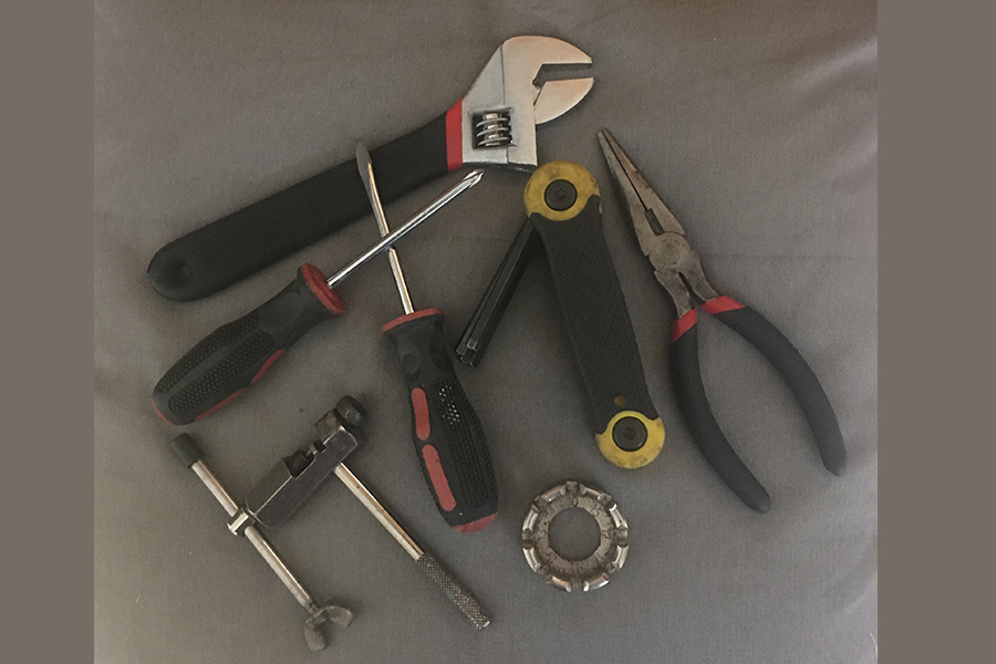 Picture of the additional tools needed for basic bike repair.