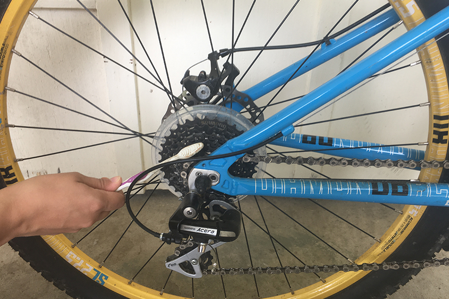 Photo of person cleaning a bike cassette.