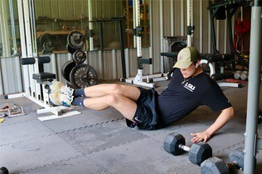 Man demonstrating a core workout.