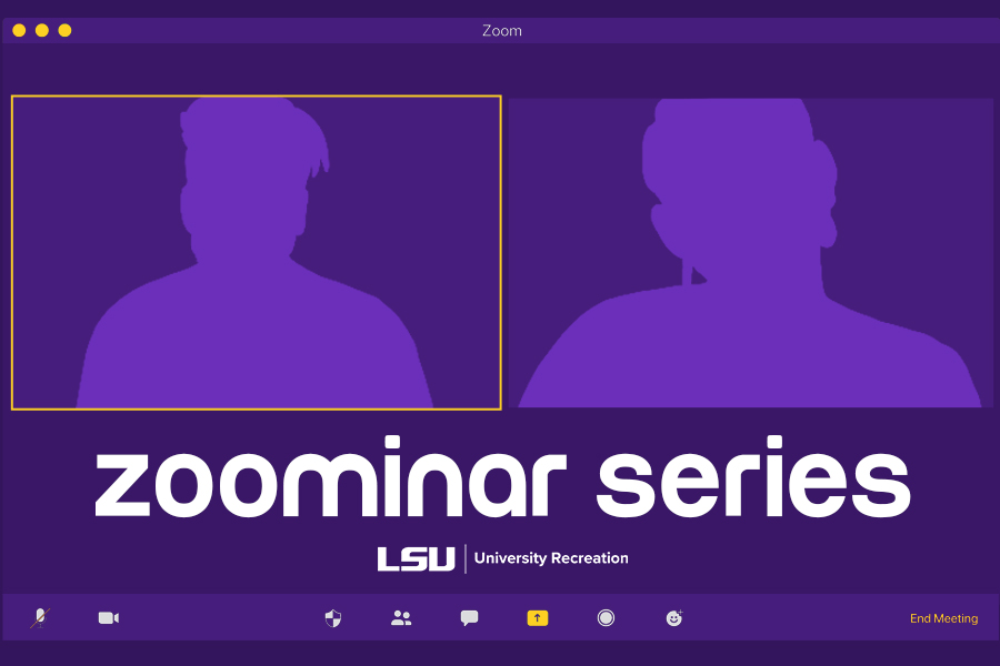 Promotional image for LSU UREC Zoominars
