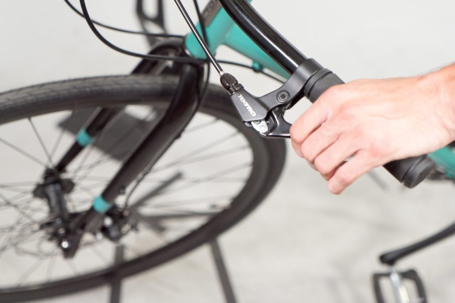 Photo of handbrakes for a bike.