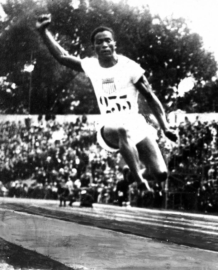 Picture of William Hubbard mid-jump.